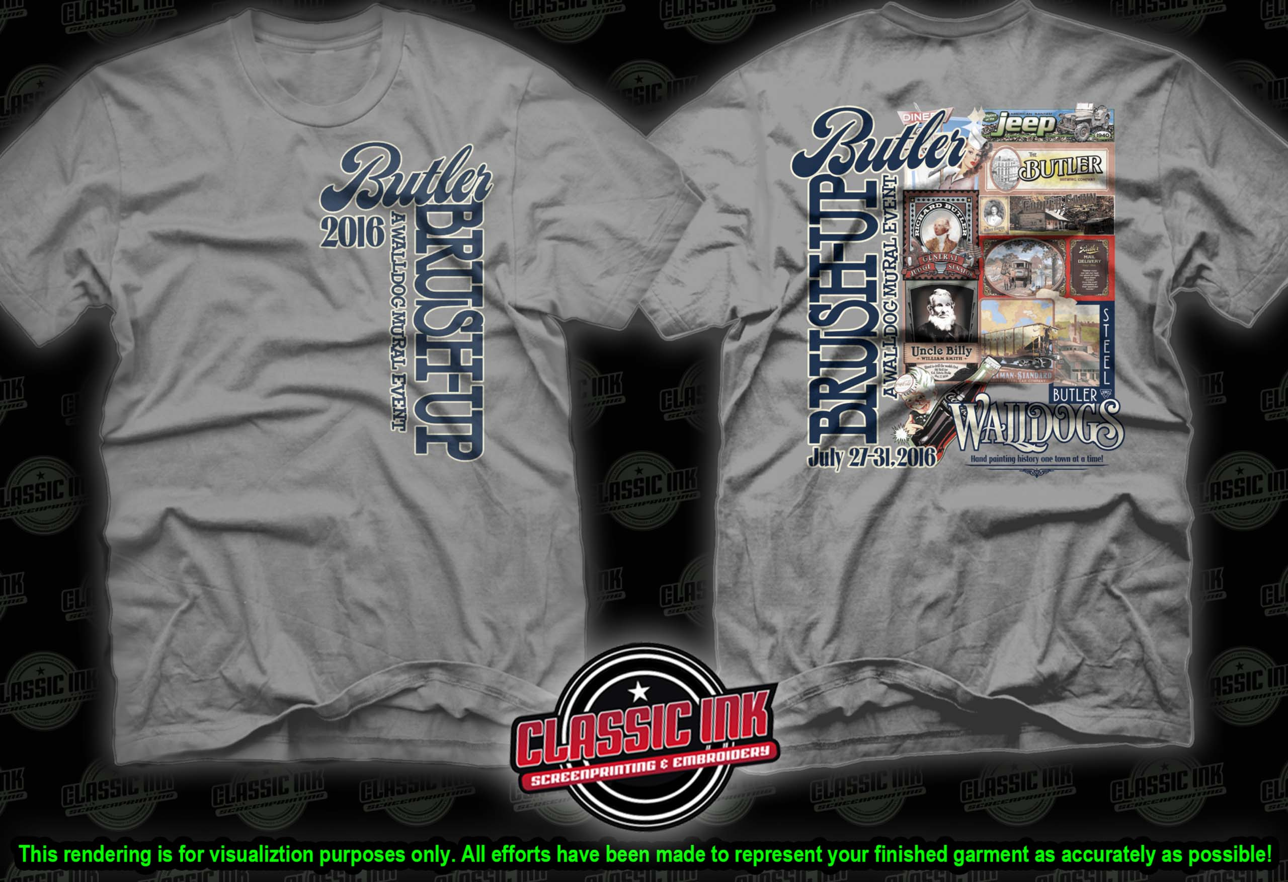 Walldog mural event t shirts butler county historical for Murals on the t shirt